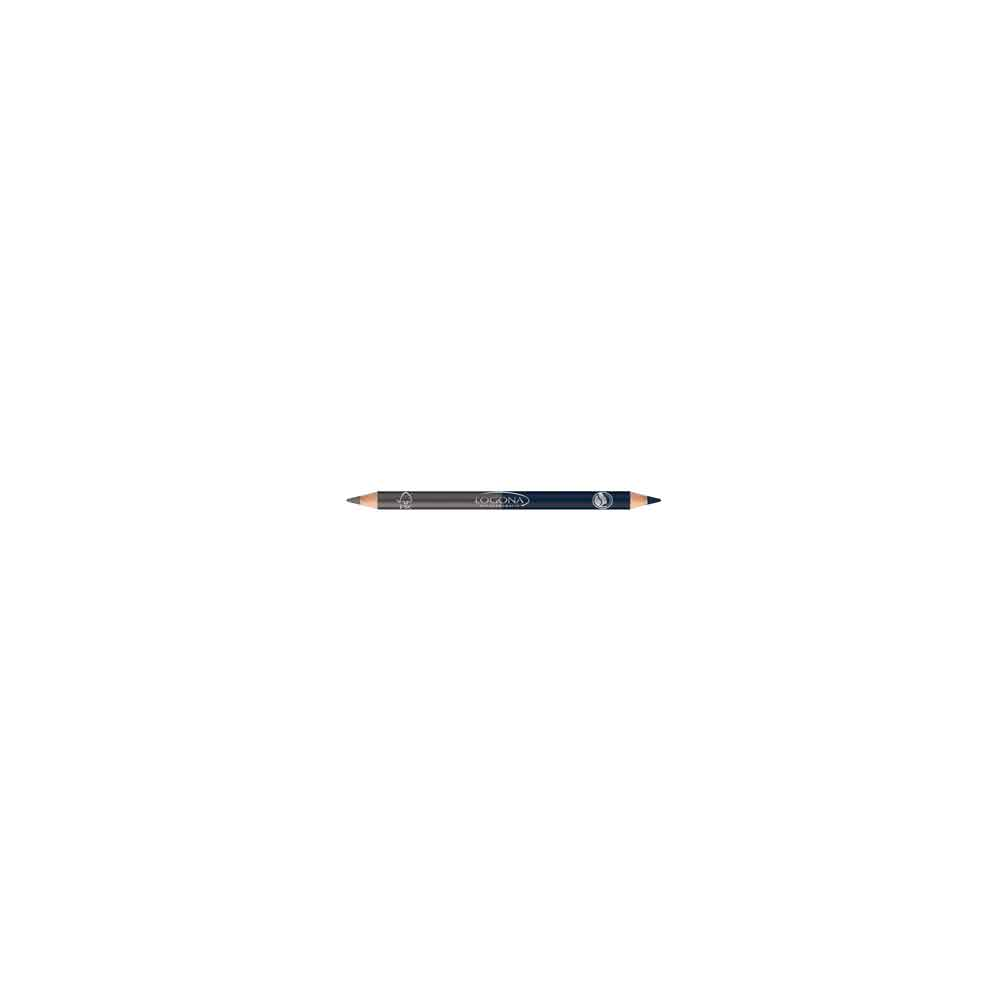 LOGONA DOUBLE EYELINER PENCIL NO. 04, STEEL GREY